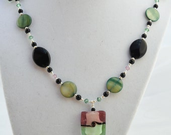 Glass Bead Necklace featuring Shell beads and Swarovski Crystals