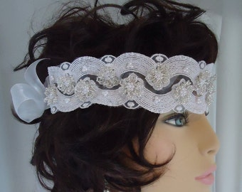 Bridal Lace Headband, Wedding Headpiece, Beaded Headband, Beaded Lace Headband, Bridal Accessory