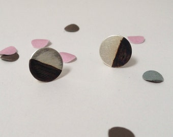 silver earstuds - geometric, round and oxidised silver