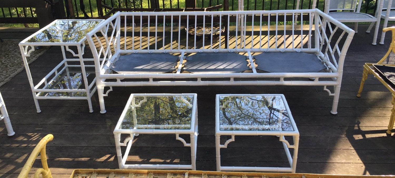 Meadowcraft Faux Bamboo Vintage Patio Set Cast Aluminum 15