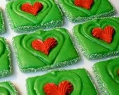 Dr Seuss Style Christmas Party Grinchs Heart Delivered Cookies of Spiced Apple Cider, Caramel Glaze & Cinnamon, Quantity: 12 / Item #1012032
