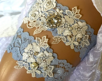 Something blue garter set/ Wedding garter set/ Garter set/ Wedding Garter/ Bridal Garter/ Blue garter/ Lace Garter/Vintage wedding garter