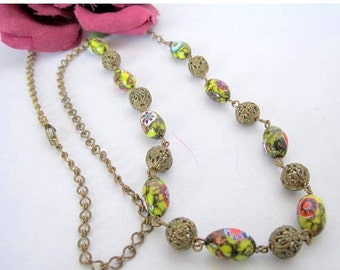Millefiori Necklace - Glass Bead - 26 Inch Bead - Gold Chain