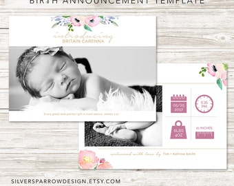 Baby Photo Announcement, Digital Photo Announcement, Watercolour, Modern Baby Design, Girl Birth Announcement