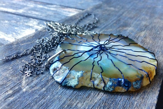 Blue Geode Agate Slice Wire Wrapped Necklace