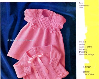 Baby Dk 8ply Light Worsted Matinee Jacket & Dress for sizes 18 and 20 ins - Pen 429 - PDF of Vintage Style Baby Knitting Patterns