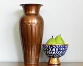 Large Vintage Copper Vase Hammered Copper Decorative Flower Metallic Vase Rustic Moroccan Cosmopolitan Chic