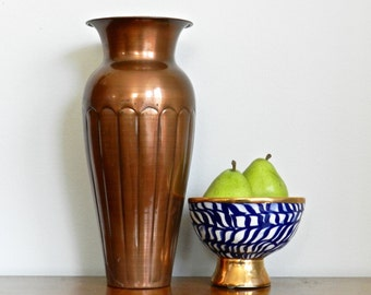 Large Vintage Copper Vase Hammered Copper Decorative Flower Metallic Copper Vase Rustic Moroccan Cosmopolitan Chic