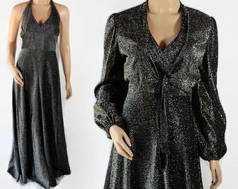 70s Bobbie Brooke Metallic Halter Dress Bolero Jacket Silver Black