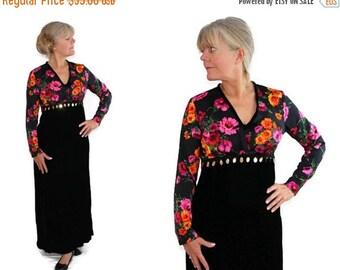 On Sale 60s Mod Maxi Dress, Mad Men Party, Black Velvet, Evening Gown, Sequins