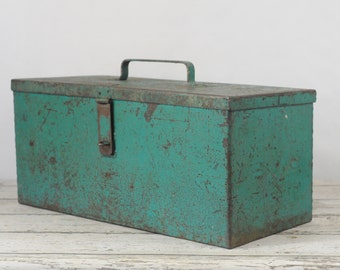 X Large Toolbox Vintage Turqoise Metal Toolbox Handmade With Tray Heavy 47.5#