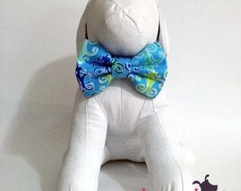 Blue Chandelier Print Dog Bow Tie