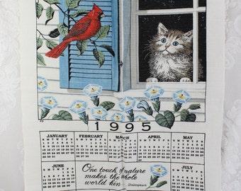 1995 Vintage Calendar Towel- Linen Kitchen Wall Hanging-  Cat, Cardinal bird, Window, Morning Glories- 1995 Birthday Anniversary Gift