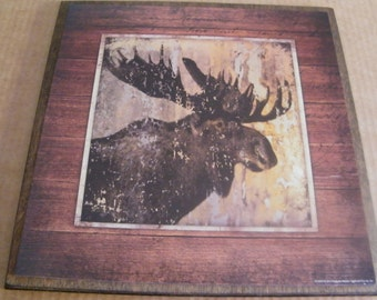 Country Cabin Lodge Lake Moose Wall Art Decor Wooden Sign 13x13""