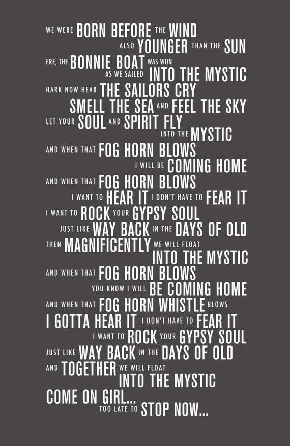Lyric like this lyrics : Into the Mystic Van Morrison Lyrics Typography Print