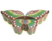 Reserved for Vincent Exotic Cloisonne Enamel Butterfly Decorative Box c 1970s