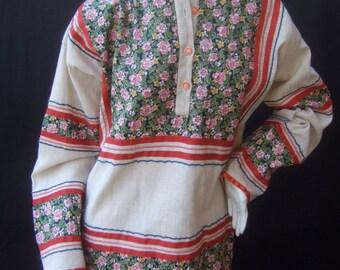 1970s Boho Chic Floral Print Cotton Tunic Blouse