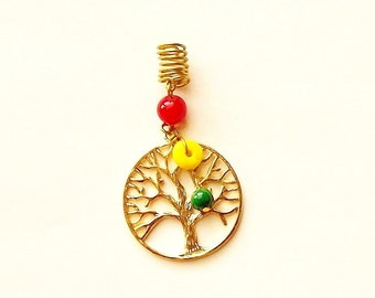 Dreadlock Jewelry - Gold Over-Sized Rasta Tree of Life Loc Jewel (SEE NOTE & TIP in Description)
