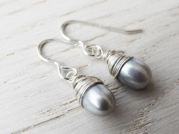 Silver & Pearl Earrings Wire Wrapped - Sterling Silver
