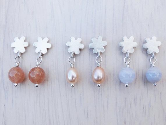 Silver Flower Stud Earrings & Gemstones - Sterling Silver