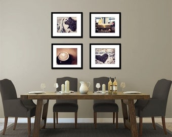 Food Photography - Kitchen Art - Coffee Love - Set of Four (4) Coffee Photos - Fine Art Photography Prints - Kitchen/Dining Room Decor