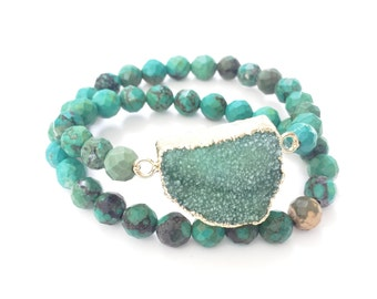 Green Druzy Double Wrap Bracelet