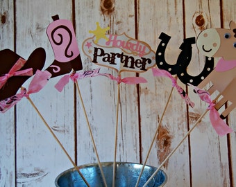 Cowgirl Birthday Party Centerpiece, Western Party Decorations, Rodeo Birthday Centerpiece