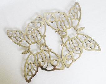 Vintage Silver Plated Butterfly Trivet by Leonard Set of Two