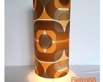 Retro 70s Orange Brown Geometric Wallpaper Table Lamp Floor Lamp