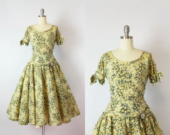 vintage 50s dress / 1950s floral taffeta dress / drop waist dress / yellow party dress / garden party dress / Golden Hour dress