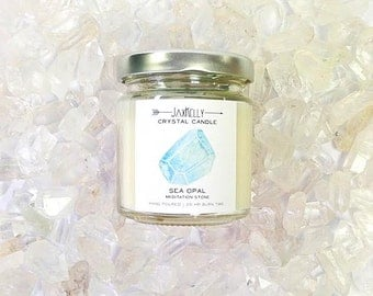 "Sea Opal Crystal Candle ""Little Sister"""