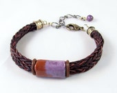 Leather bracelet braided purple and brown