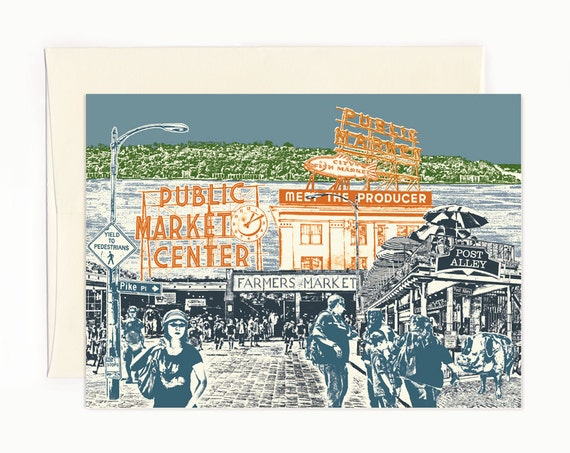 Shopping at Pike Place Market Notecard - Seattle Washington - full color - folded Greeting Card