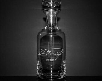 Engraved Crystal Whiskey Decanter w/ Signature - Personalized Groomsmen Gift