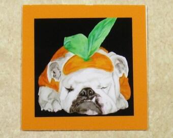 Halloween Bulldog Cling Wine Charms - Pumpkin English Bulldog Wine Glass Markers, Wine Tags, Wine ID