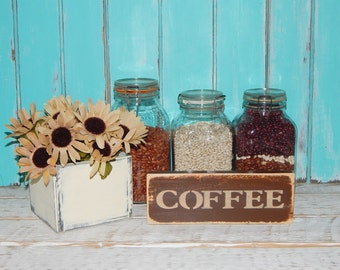 Coffee Sign Kitchen Sign Wood Coffee Sign Country Home Decor Shelf Sitter  Ready To Ship