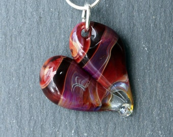 Glass Heart Necklace, Blown Boro Pendant, Lampwork Focal Bead Purple Twist Red Heart