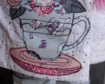 Tea Time! Free Motion Applique PATTERN