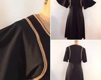 Allegro New York 70s braided trim black dress