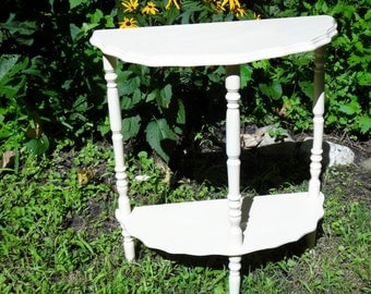Demi Lune Table, Half Moon Table, Half Round Table, Scallop, White End Table, Side Table, Painted Table, Furniture, Painted Furniture