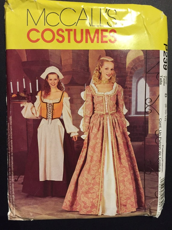 McCall's Sewing Pattern 239 Misses and Miss Petite Elizabethan, Tudor, Renaissance Costume Size 8-12