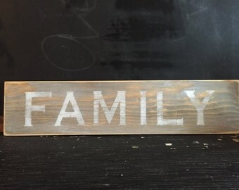 Family hand painted sign, wooden sign, antique sign, vintage look sign, farmhouse style signage