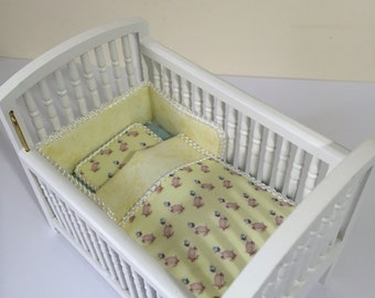 Dolls house 1/12th scale cot bedding set