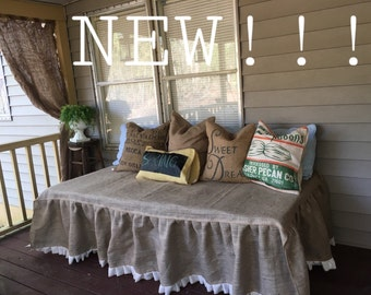 New Burlap day bed skirt with white ruffle