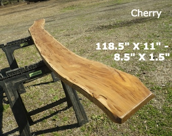 Live Edge Skinny Bar Top, Finished Cherry Wood Slab, Behind the Sofa Table, Natural Edge Shelving, Bench, Foyer Table, Sleek Top Shelf, 9005