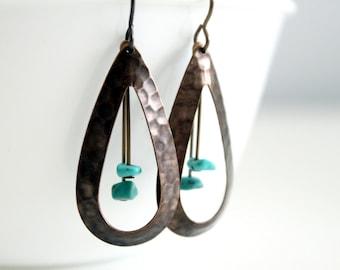 Brass Teardrop Hoop Earrings - Hammered Long Dangle Earrings, Natural Brass, Boho Summer Style, Turquoise Beads
