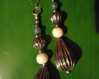 Boho Gypsy Long Silver Tone Dew Drop Earrings