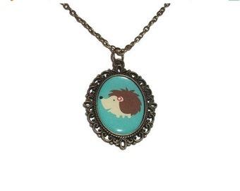 Cute Hedgehog Necklace, Bronze Cameo, Green Kawaii Forest Animal Jewellery, Woodland