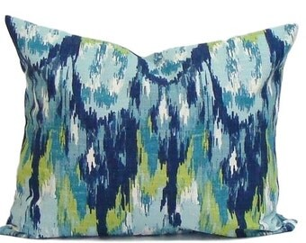 BLUE LUMBAR PILLOW, Blue Pillow Cover.Blue Pillow, Green Pillow.Housewares.Blue Pillow.Blue Green Pillow, Blue Cushion Cover, Green Cushion
