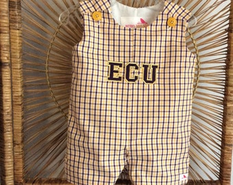 ECU or LSU...Jon Jon ... fully lined purple and gold gingham plaid, with Football helmet Applique or Block letters